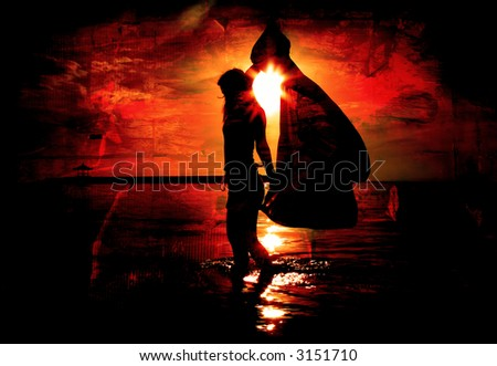 Red Grunge Background with Woman on Beach
