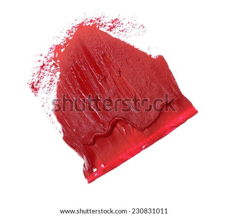 red grunge brush strokes oil paint isolated on white - stock photo