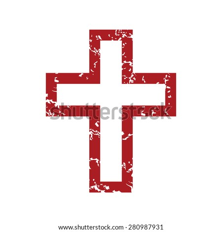 Red grunge Christianity logo on a white background - stock photo