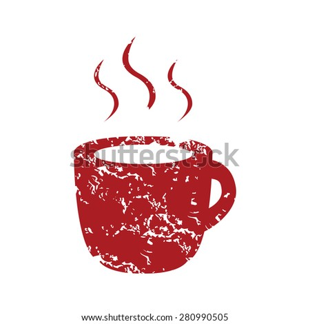Red grunge cup of coffee logo on a white background - stock photo