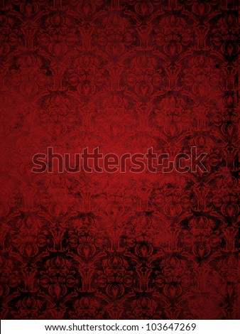 red grunge seamless ornamental wallpaper, floral pattern - stock photo