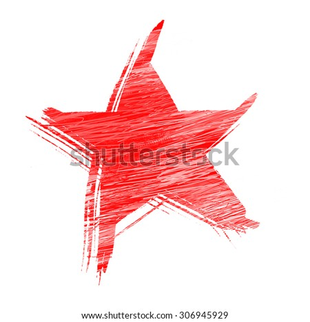 red grunge star painted with a brush isolated on a white
