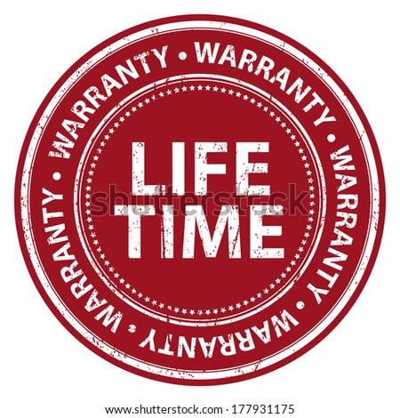Red Grunge Style Lifetime Warranty Icon, Badge, Label or Sticker for Product Warranty, Quality Control, Quality Assurance, Quality Management, CRM or Customer Satisfaction Concept Isolated on White - stock photo