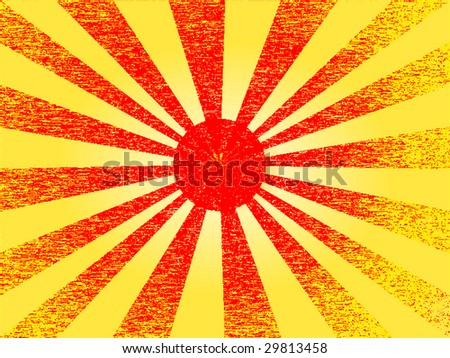 Red grunge sun - stock photo