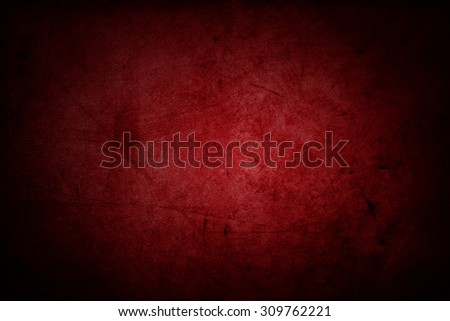 Red grunge textured wall, dark edges - stock photo