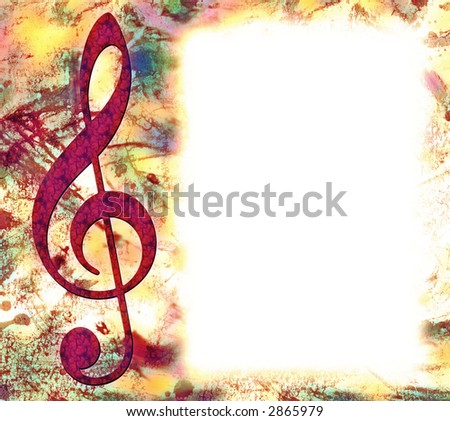 Red Grunge Treble Clef Musical Poster with White Copy SPace - stock photo