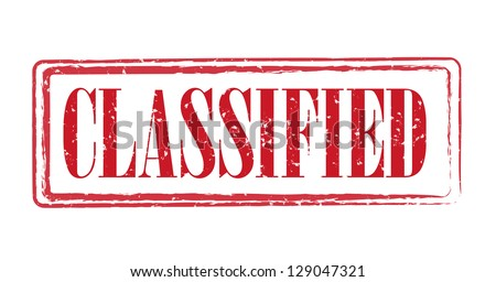 "Red grungy stamp with inscription ""Classified"" - stock photo"
