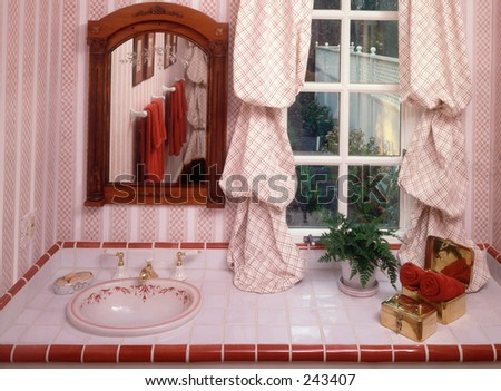 red guest bathroom - stock photo