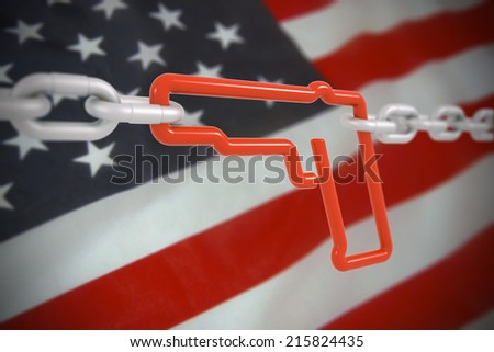 Red gun symbol locked with metal chains - 3d front illustration render on US flag background - stock photo