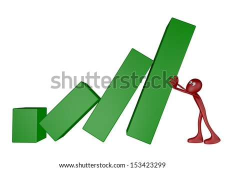 red guy pushes business graph - 3d illustration
