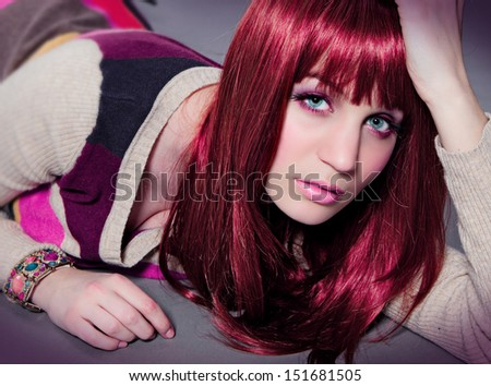 red hair and sexy look - stock photo