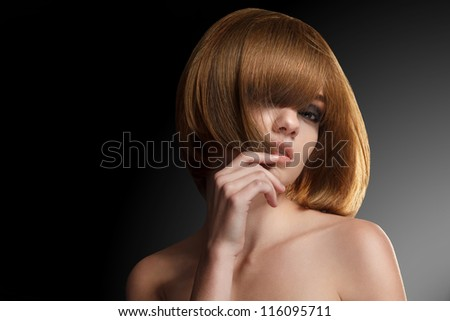 Red hair. Beautiful Woman with Bob hairstyle - stock photo