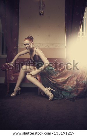 Red hair beauty in hotel room
