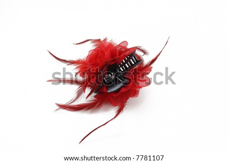 red hair clip isolated on white - stock photo
