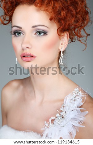 Red hair. Fashion girl portrait.Accessory. - stock photo