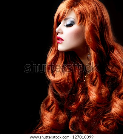 Red Hair. Fashion Girl Portrait. long Curly Hair