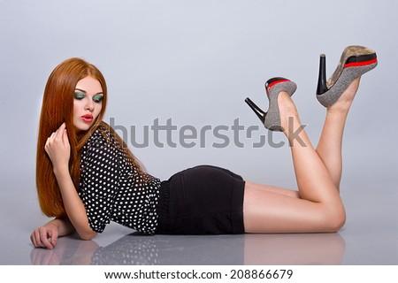 Red Hair. Fashion Woman Portrait. long Hair. Bright Make up - stock photo