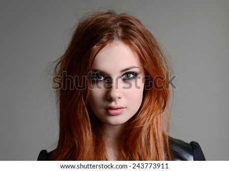 red hair girl - stock photo