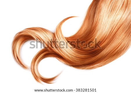 Red Hair isolated over white background. Shiny Healthy colored hair lock closeup - stock photo
