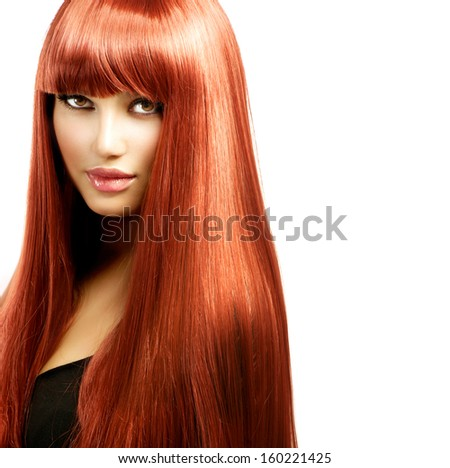 Red Hair Model Girl Portrait. Sexy Woman with Long Shiny Straight Red Hair Isolated on White Background. Fringe Hairstyle. Hair Extensions - stock photo