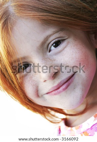 red hair with freckles - stock photo