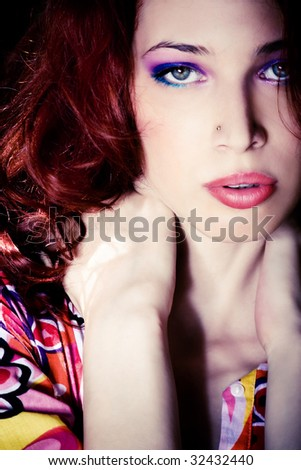 red hair young woman portrait - stock photo