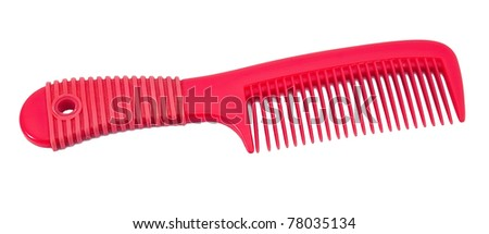 Red hairbrush isolated on white - stock photo