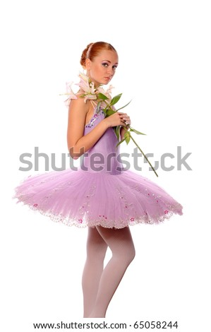 red-haired ballet dancer with lily isolated on white - stock photo