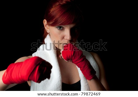 Red-haired boxing girl - stock photo
