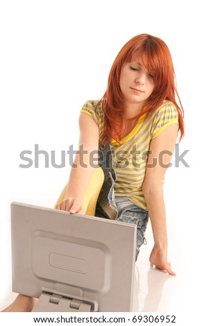 Red-haired businesswoman with book and notes on face.