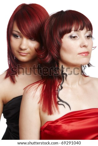 red-haired couple  on a white - stock photo