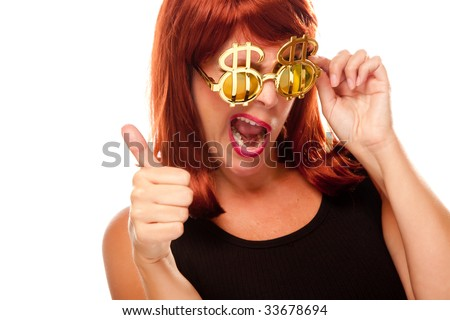 Red Haired Girl with Bling-Bling Dollar Glasses Isolated on a White Background. - stock photo