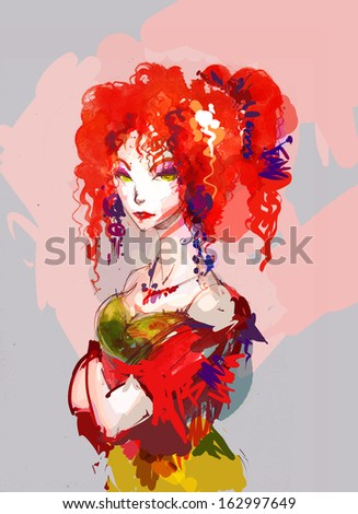 red haired gypsy portrait - stock photo