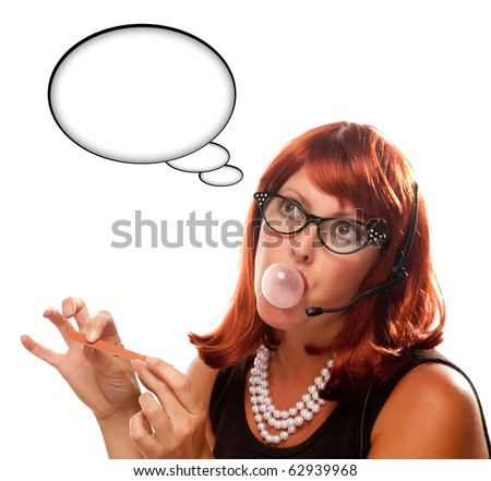 Red Haired Retro Receptionist with Blank Thought Bubble Chewing Gum Isolated on a White Background. - stock photo