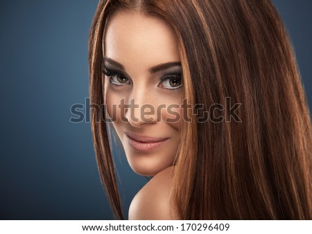 Red-haired woman portrait - stock photo
