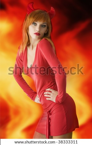 red haired woman with a red mini dress and horns like a demon