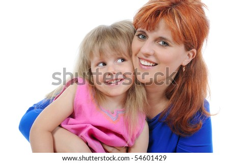 Red-haired woman with her daughter. Isolated on white background