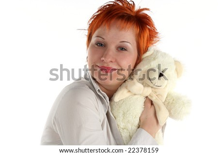 red haired woman with teddy bear isolated on white background
