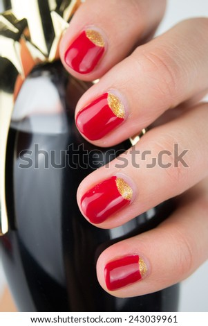 red half moon nail art manicure  - stock photo