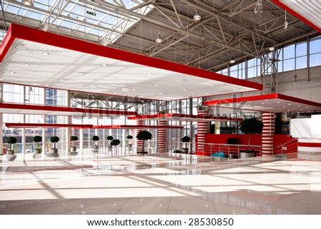 Red hall in trade center - stock photo