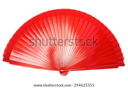 Red hand fan isolated on white background.