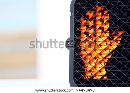 Red hand for traffic signal for pedestrians. - stock photo