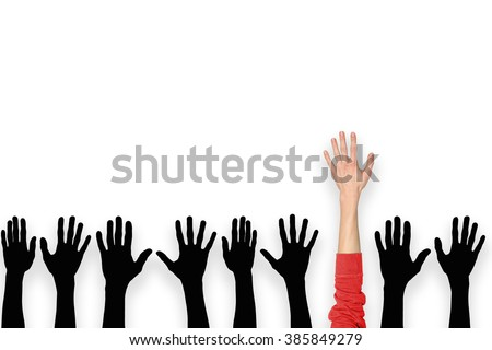 red hand leading crowd hands, leadership concept
