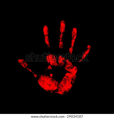 red hand on black background