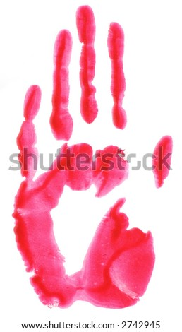Red hand print - stock photo