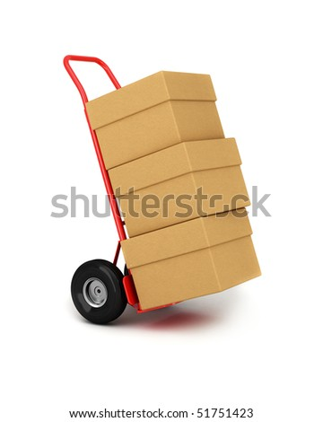 Red hand truck with three cardboard boxes on it ready for delivery - stock photo