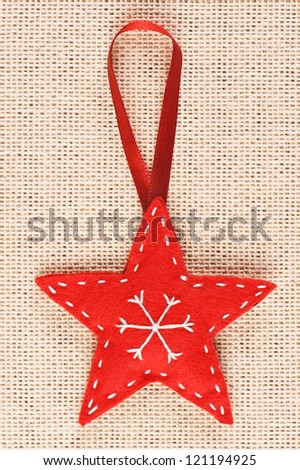 Red handmade Christmas tree decoration - stock photo
