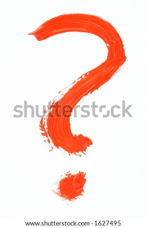 red handpainted question mark - stock photo
