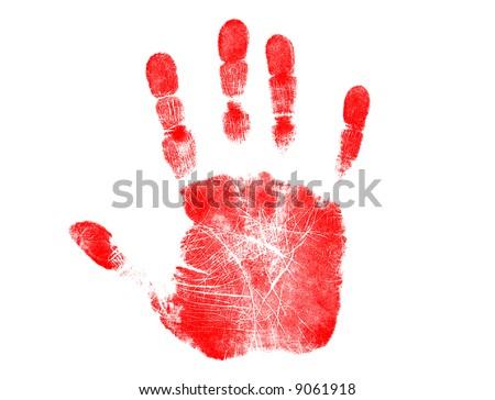 Red Handprint - stock photo