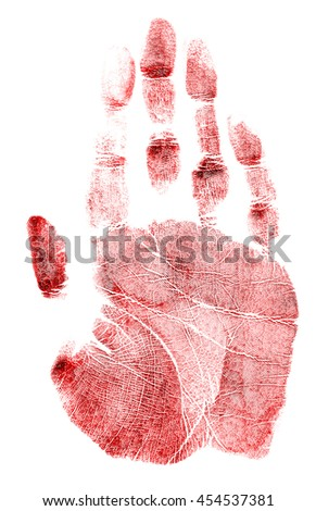 Red handprint on a white background - stock photo
